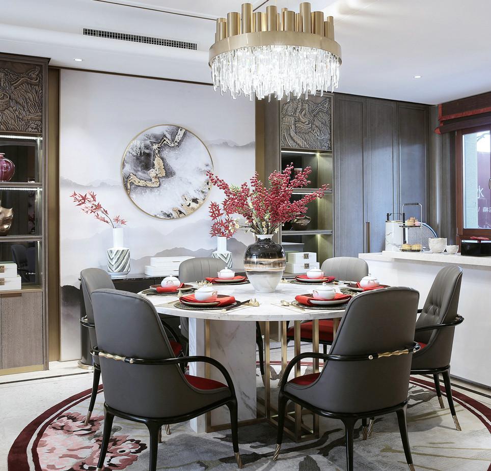 新中式轻奢别墅餐厅背景墙装修效果图