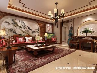 中式别墅沙发背景墙装修设计效果图