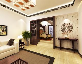 现代中式别墅客厅过道装修效果图