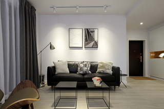 80平米简约风格沙发背景墙装修效果图