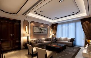 现代中式风格沙发背景墙装修效果图