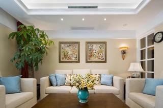 美式风格两居沙发背景墙装修设计图