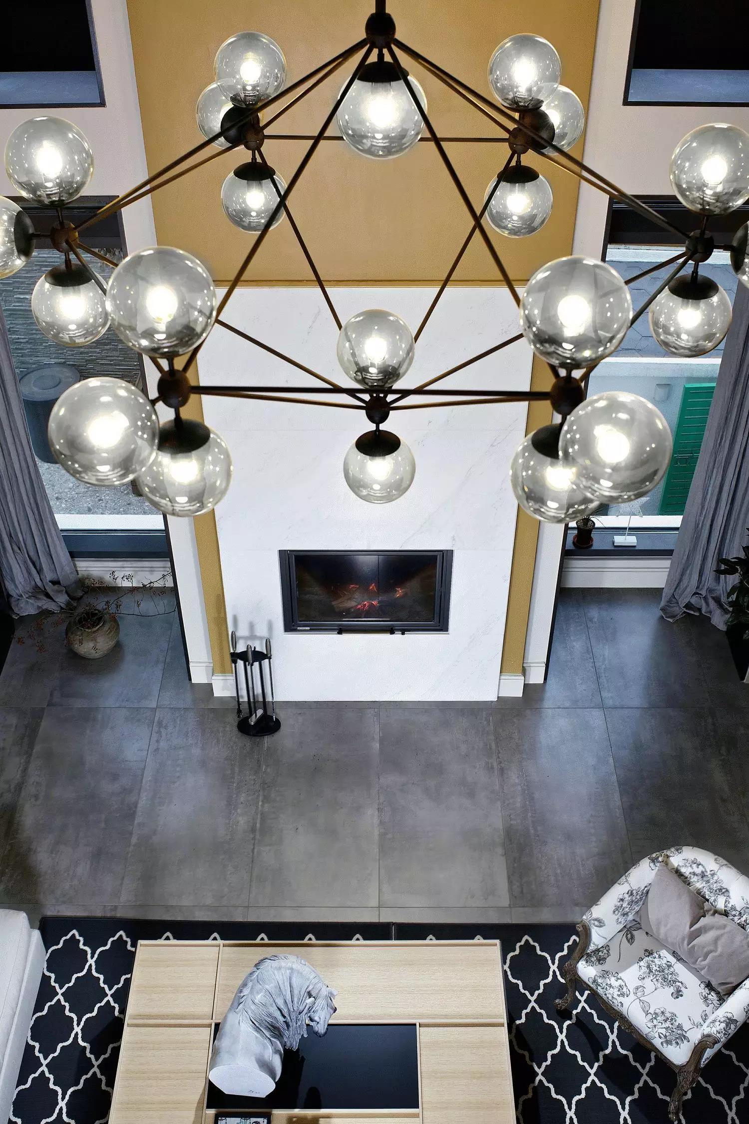 简约休闲别墅装修客厅吊灯设计效果图