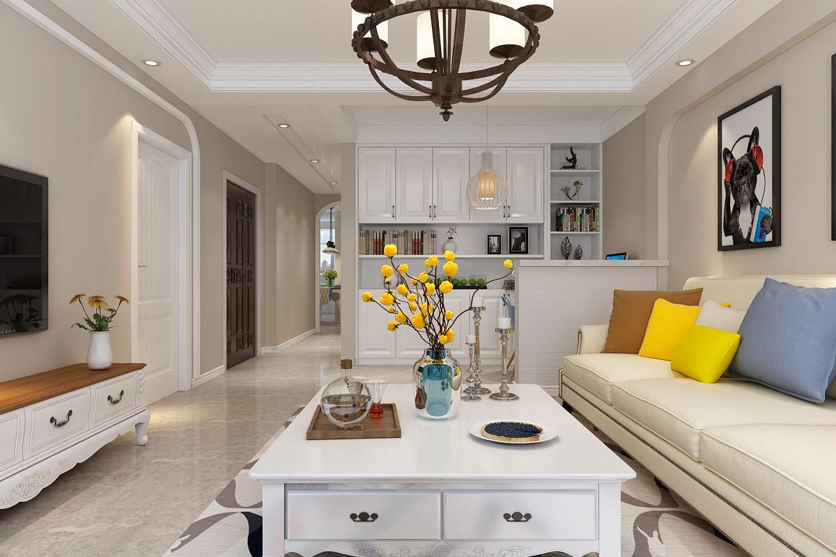 90㎡美式风格客厅装修效果图