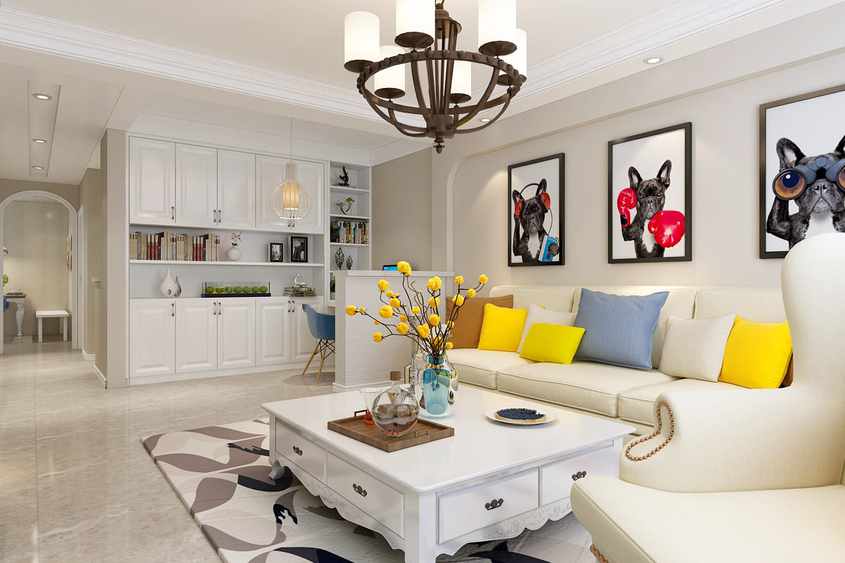 90㎡美式风格装修客厅搭配图