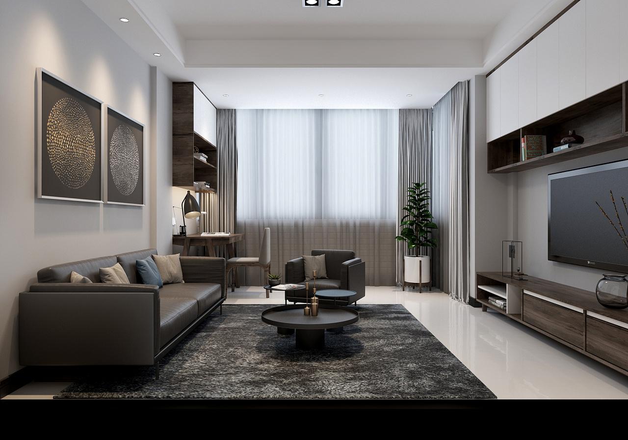 90平现代简约客厅装修效果图