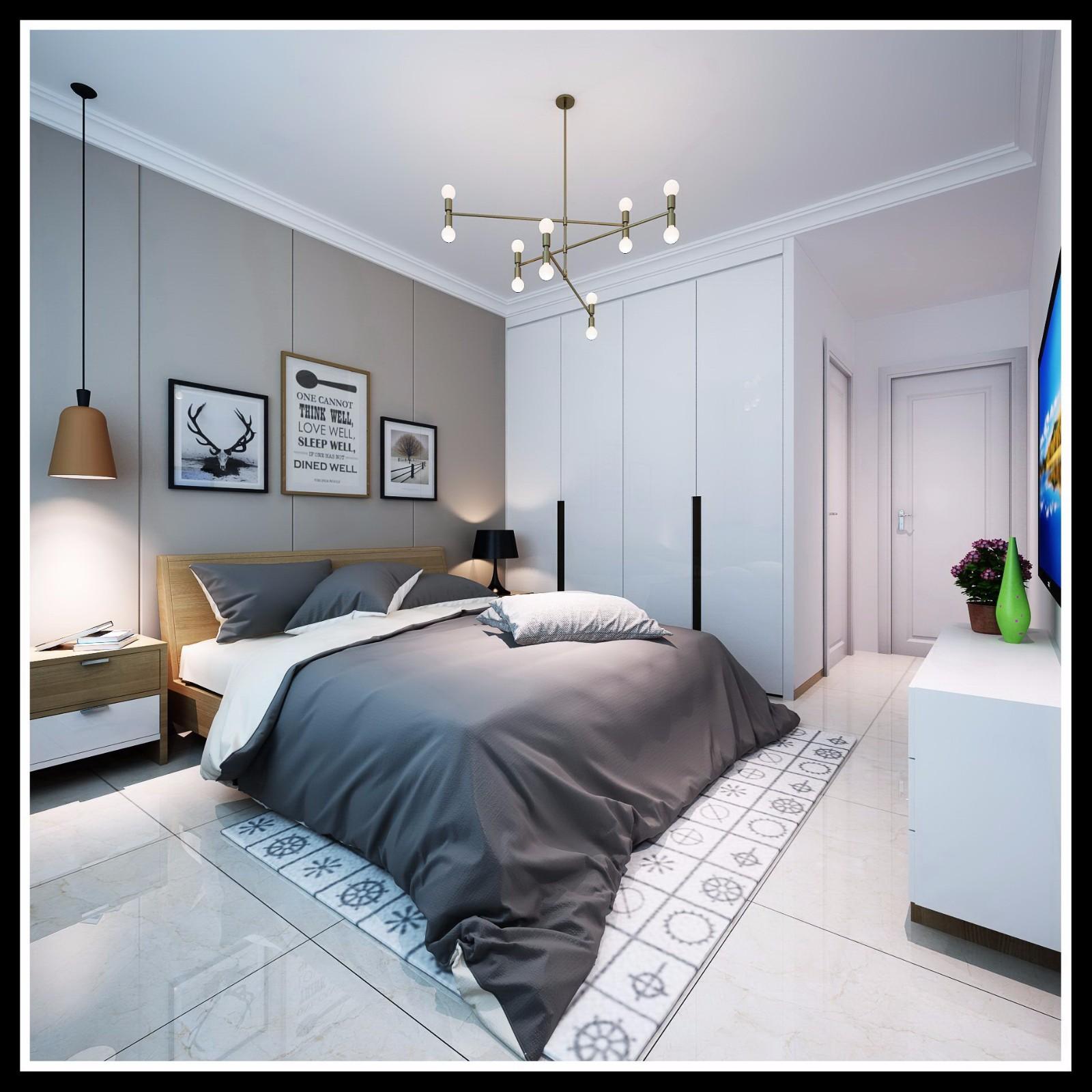 现代北欧风卧室装修效果图