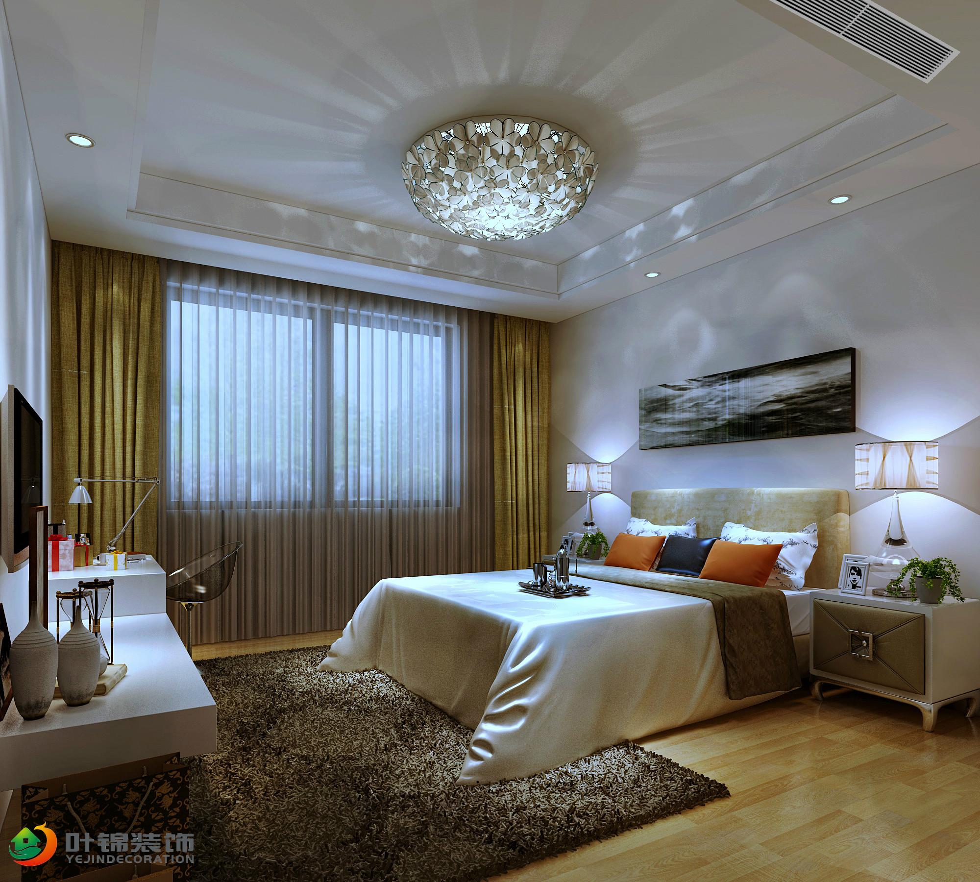 现代简约三居卧室装修设计图