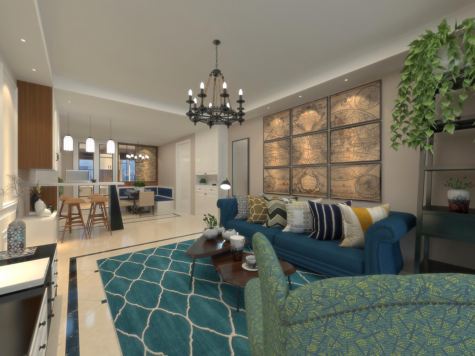 混搭风格两居室客厅装修搭配图