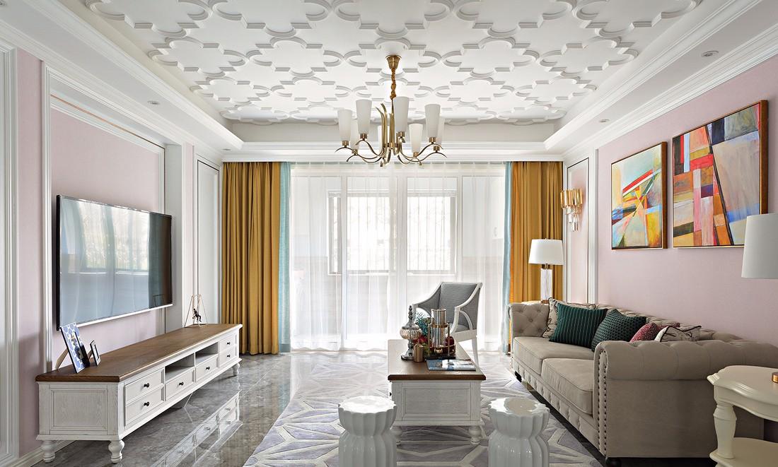 法式风格三居客厅装修效果图