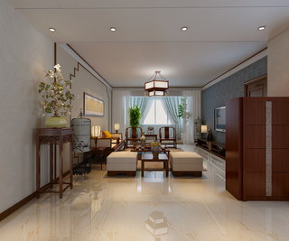 140平中式風格客廳裝修效果圖