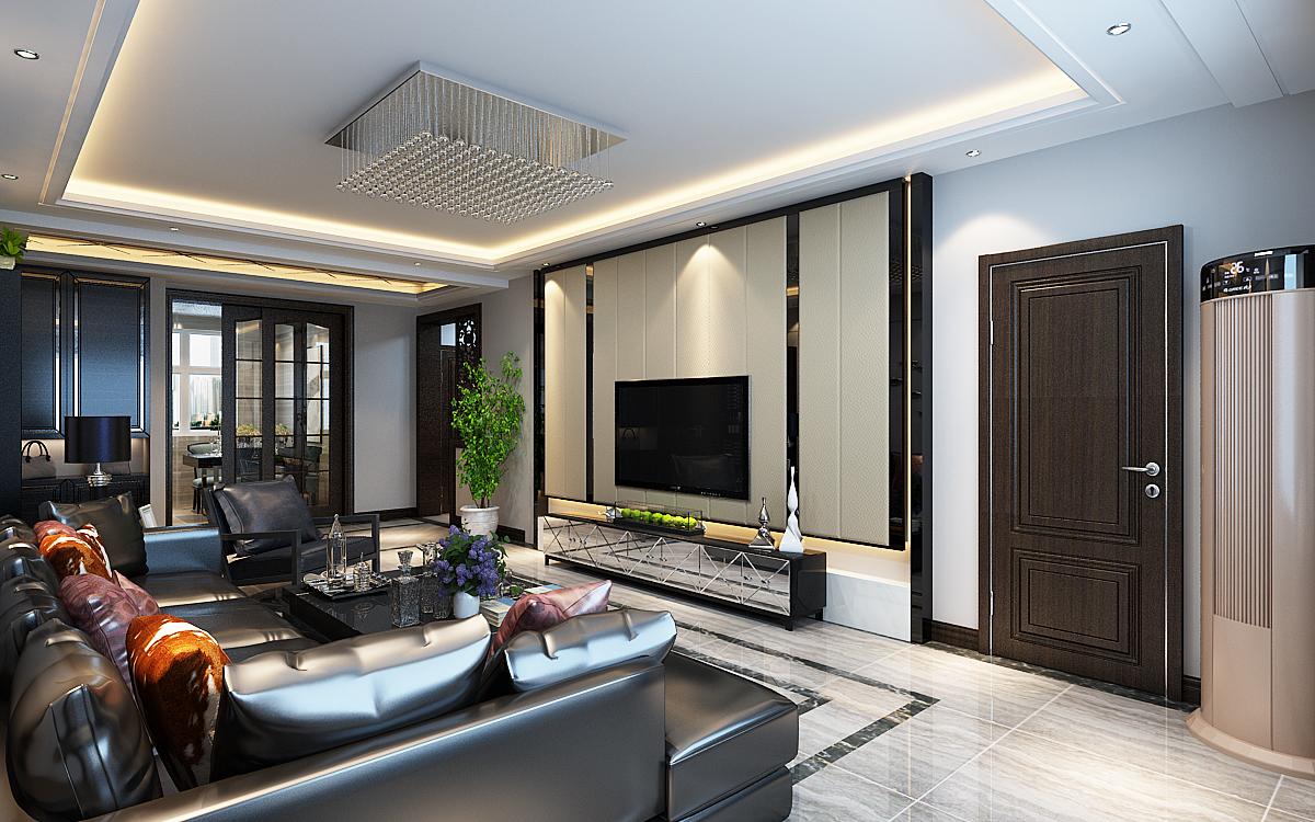 现代三居室客厅吊顶装修设计效果图