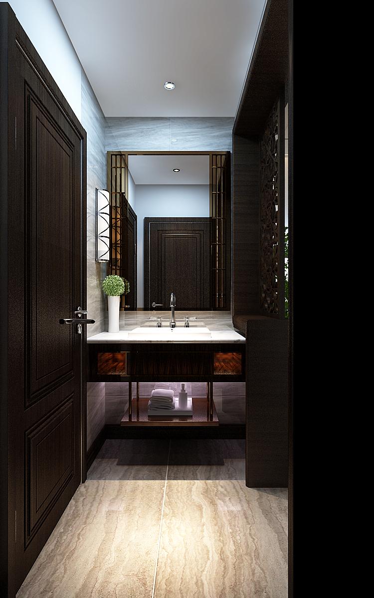 现代三居室装修卫生间洗手台设计效果图