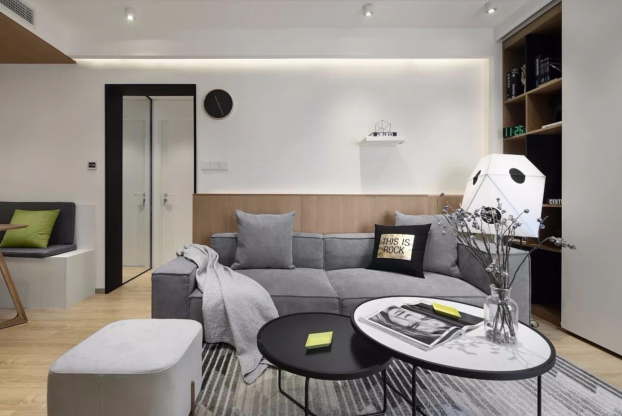65㎡现代简约风格沙发背景墙装修效果图