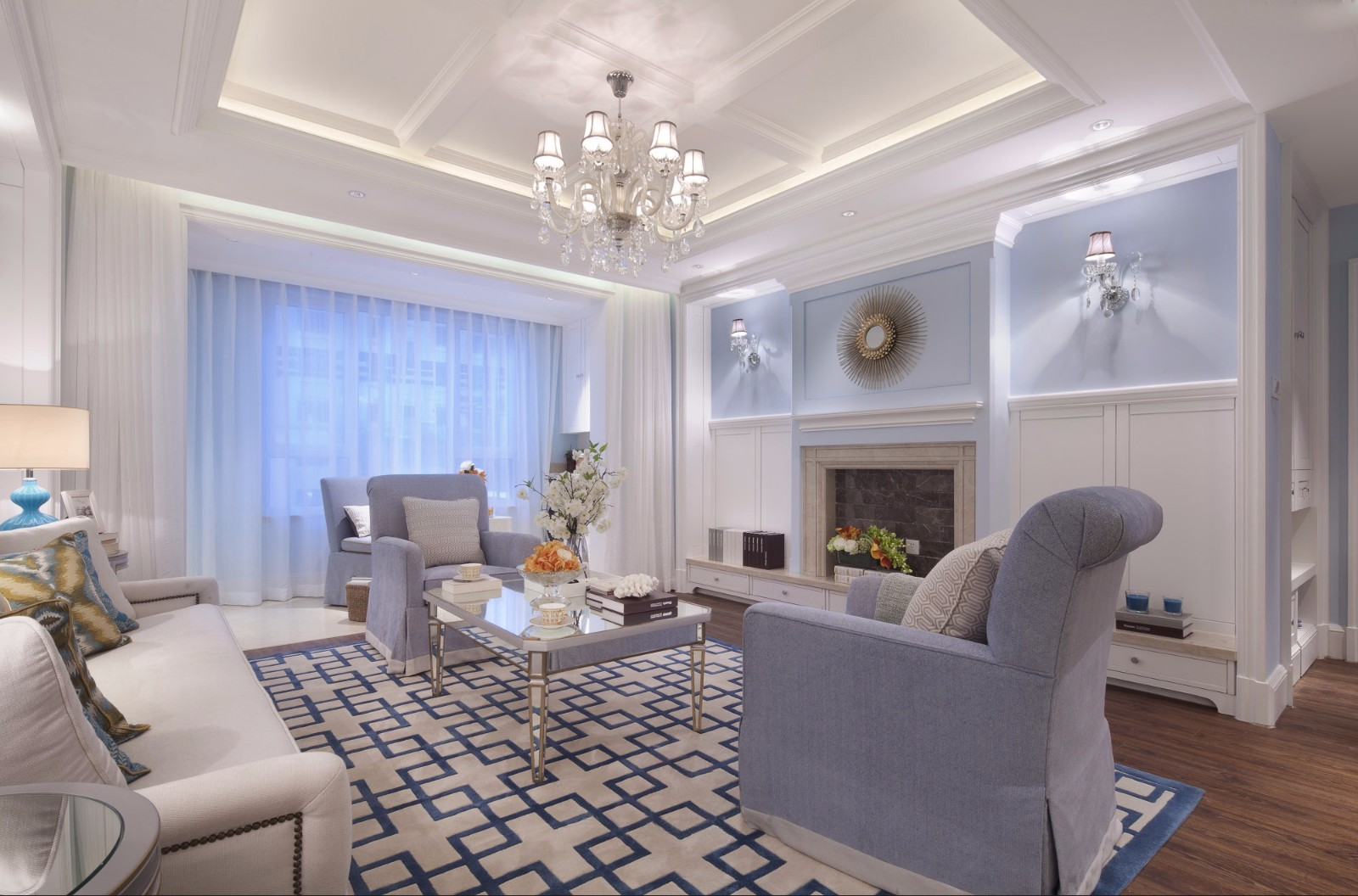130平清新美式风格客厅吊顶装修效果图