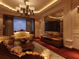 古典风格三居室电视背景墙装修效果图