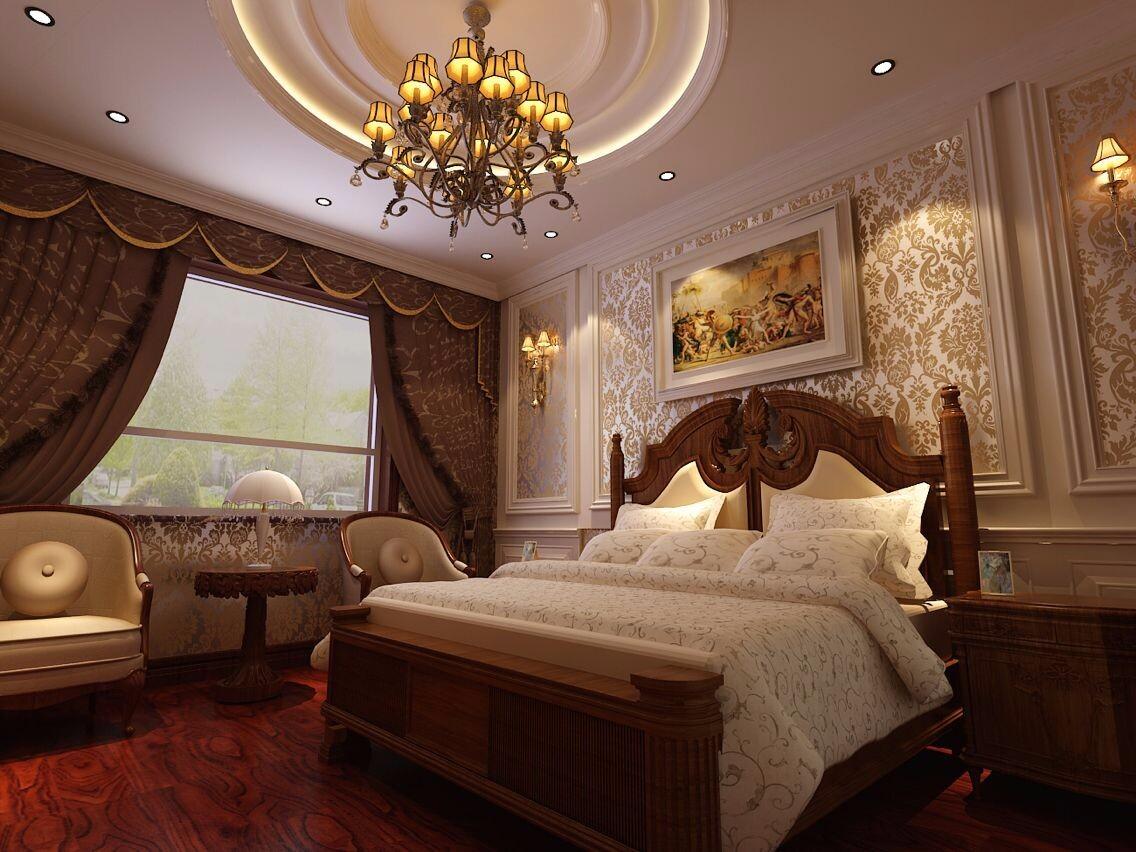 古典风格三居卧室修效果图