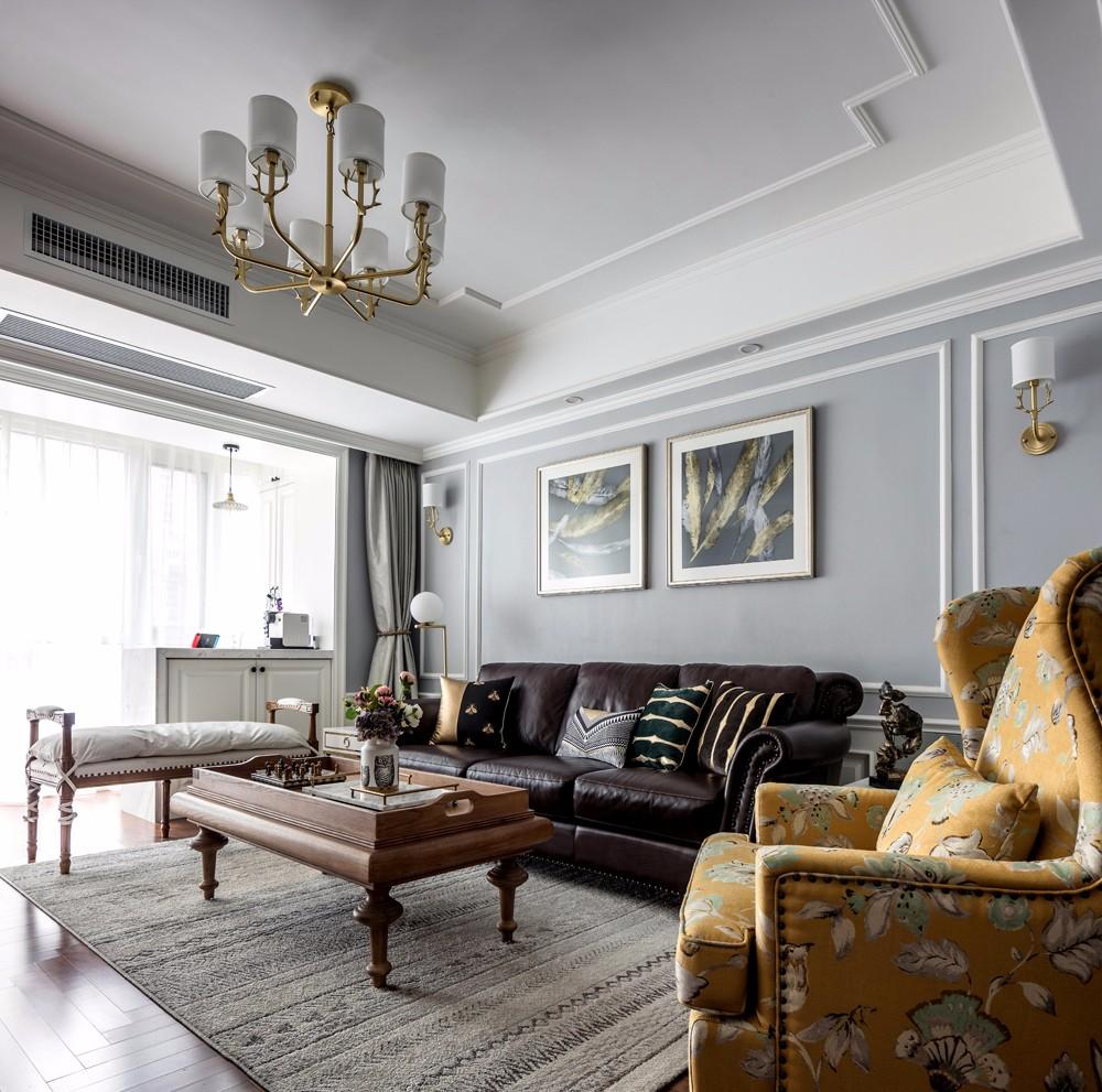 美式三居室沙发背景墙装修效果图