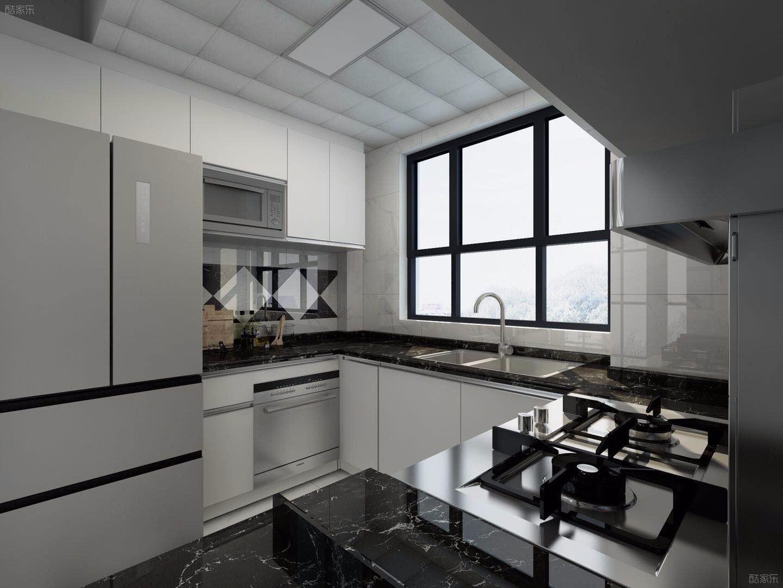 现代风格黑白厨房装修效果图