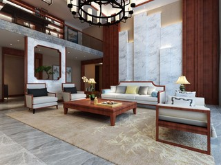 复式现代中式风格客厅装修效果图