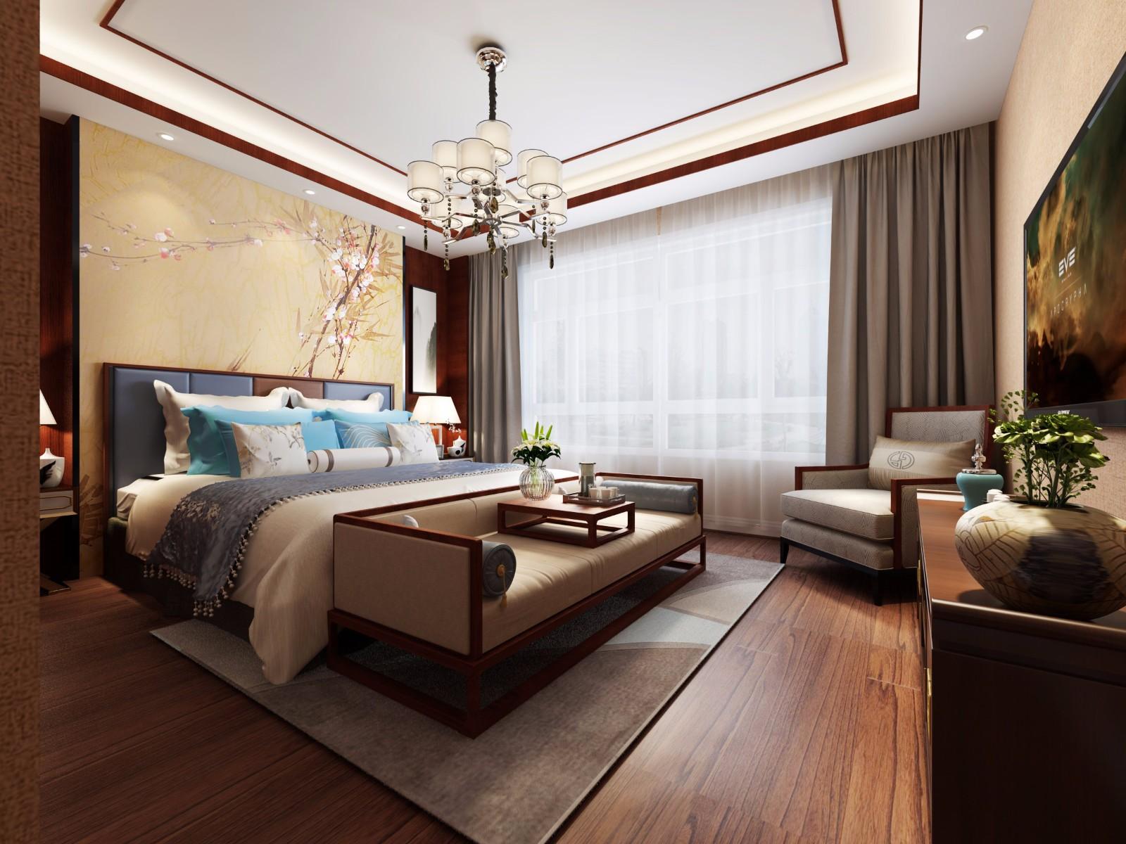 现代中式风格卧室装修效果图