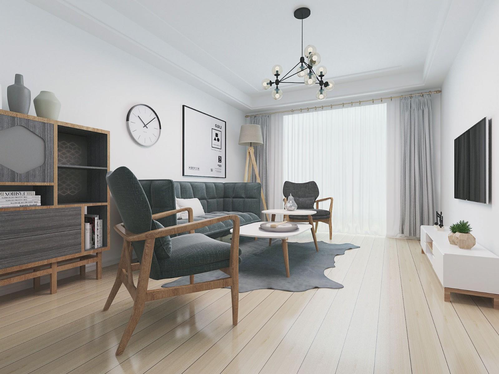 106平米简约风格客厅装修效果图