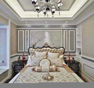 古典欧式风格别墅卧室背景墙装修效果图