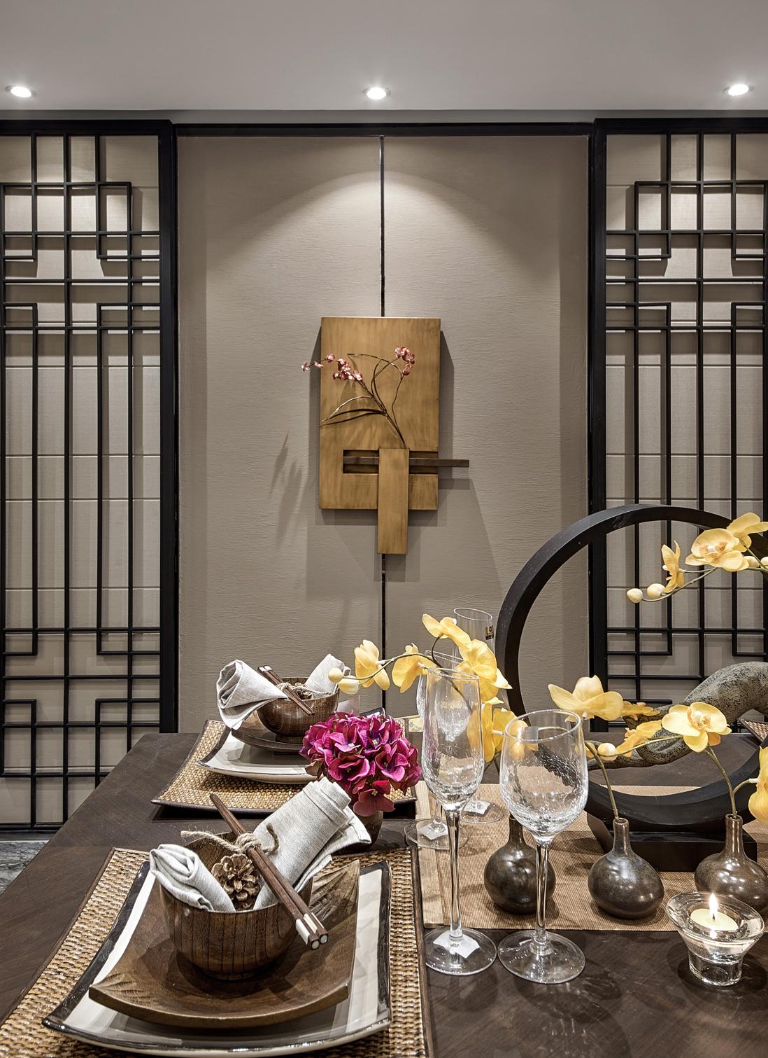 中式豪华大户型餐厅背景墙装修效果图