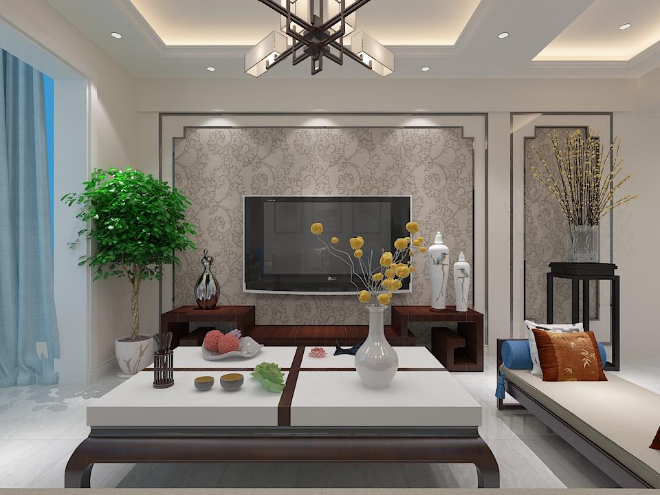 新中式电视背景墙装修效果图