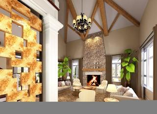 美式风格复式别墅客厅吊顶装修效果图
