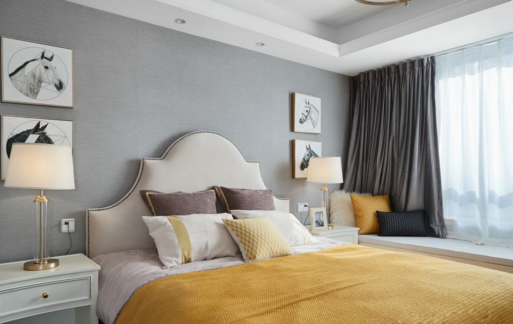三居室美式风格卧室装修效果图