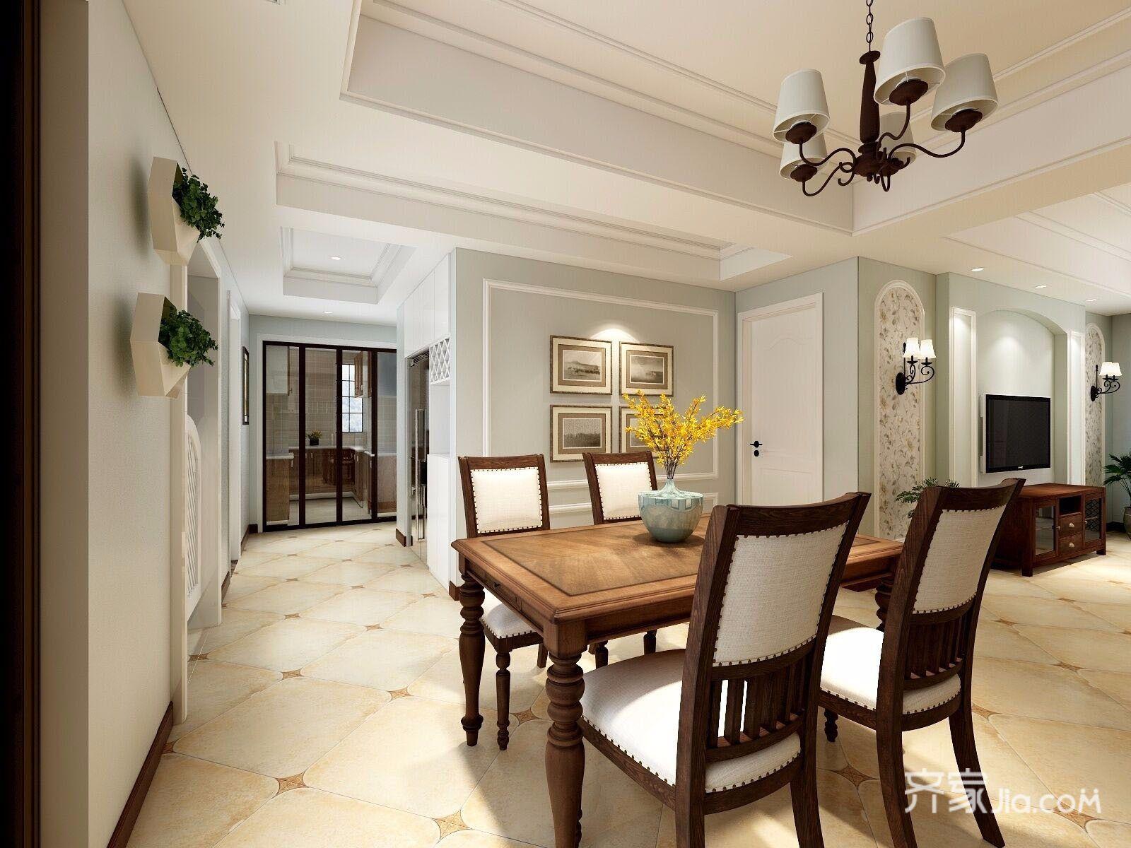 140平美式三居室餐厅装修效果图