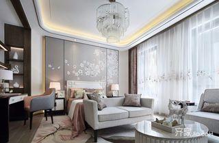 大户型中式风格卧室背景墙装修效果图