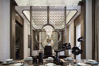 大户型中式风格装修餐厅屏风隔断效果图