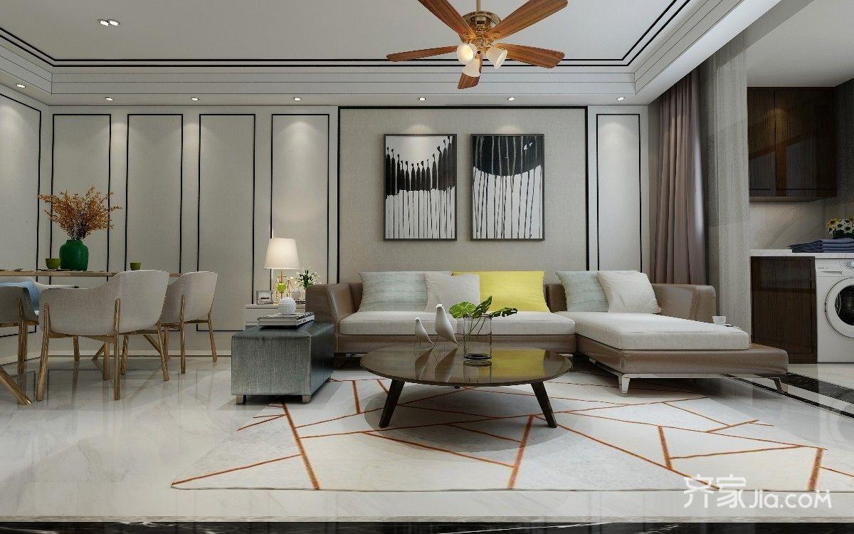 现代港式风格沙发背景墙装修效果图