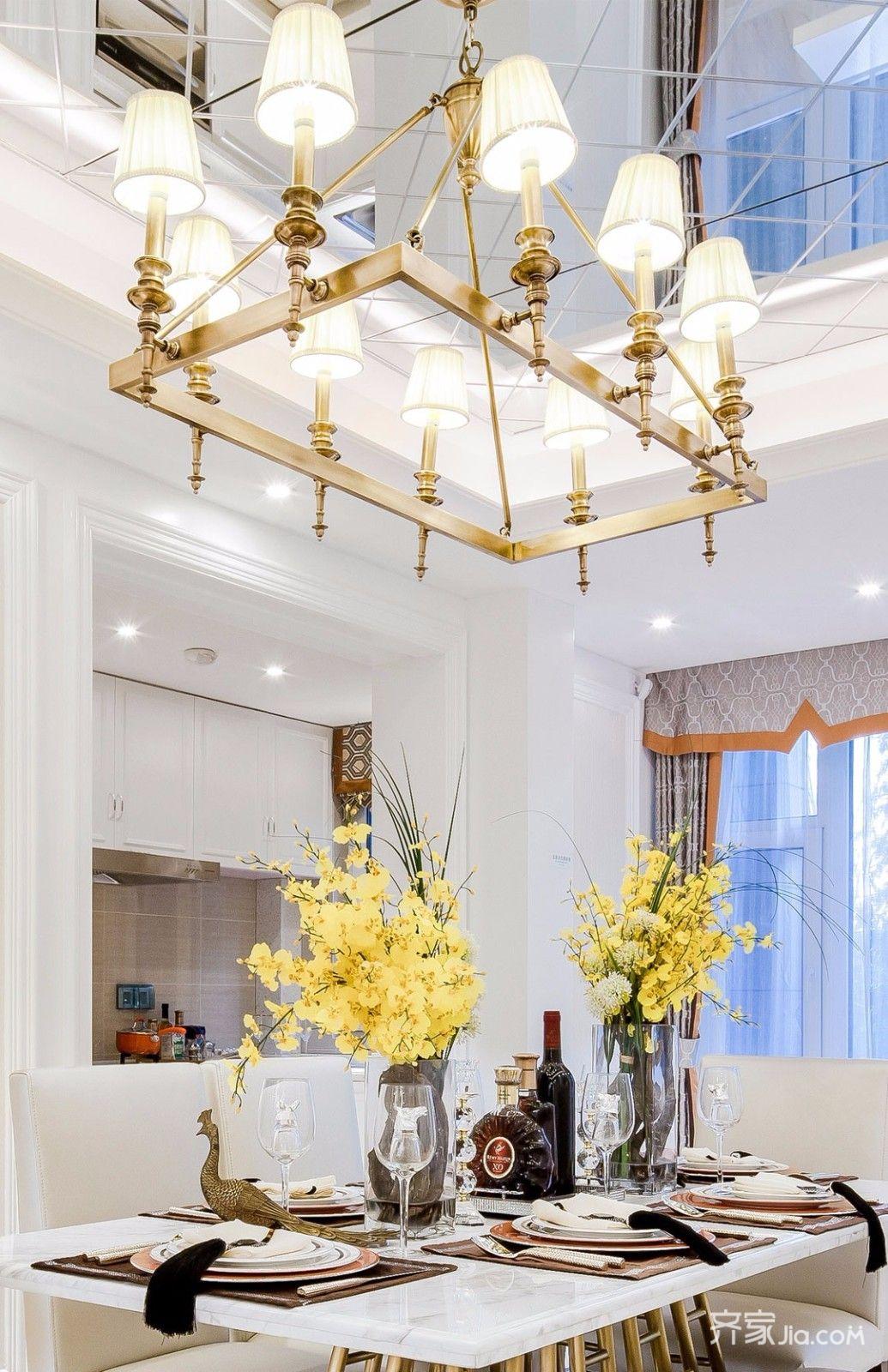 时尚轻奢风装修餐厅吊顶设计图