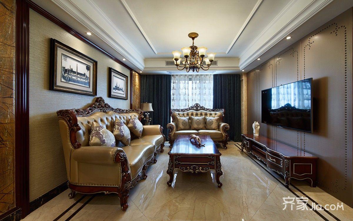 120平古典欧式客厅装修效果图