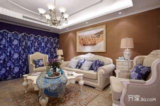 地中海混搭三居沙发背景墙装修效果图