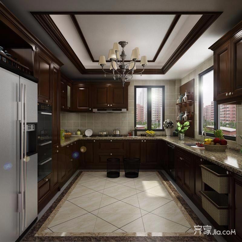 中式风格大户型别墅厨房装修效果图