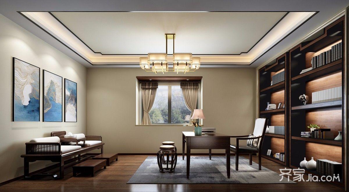 中式风格大户型别墅书房装修效果图