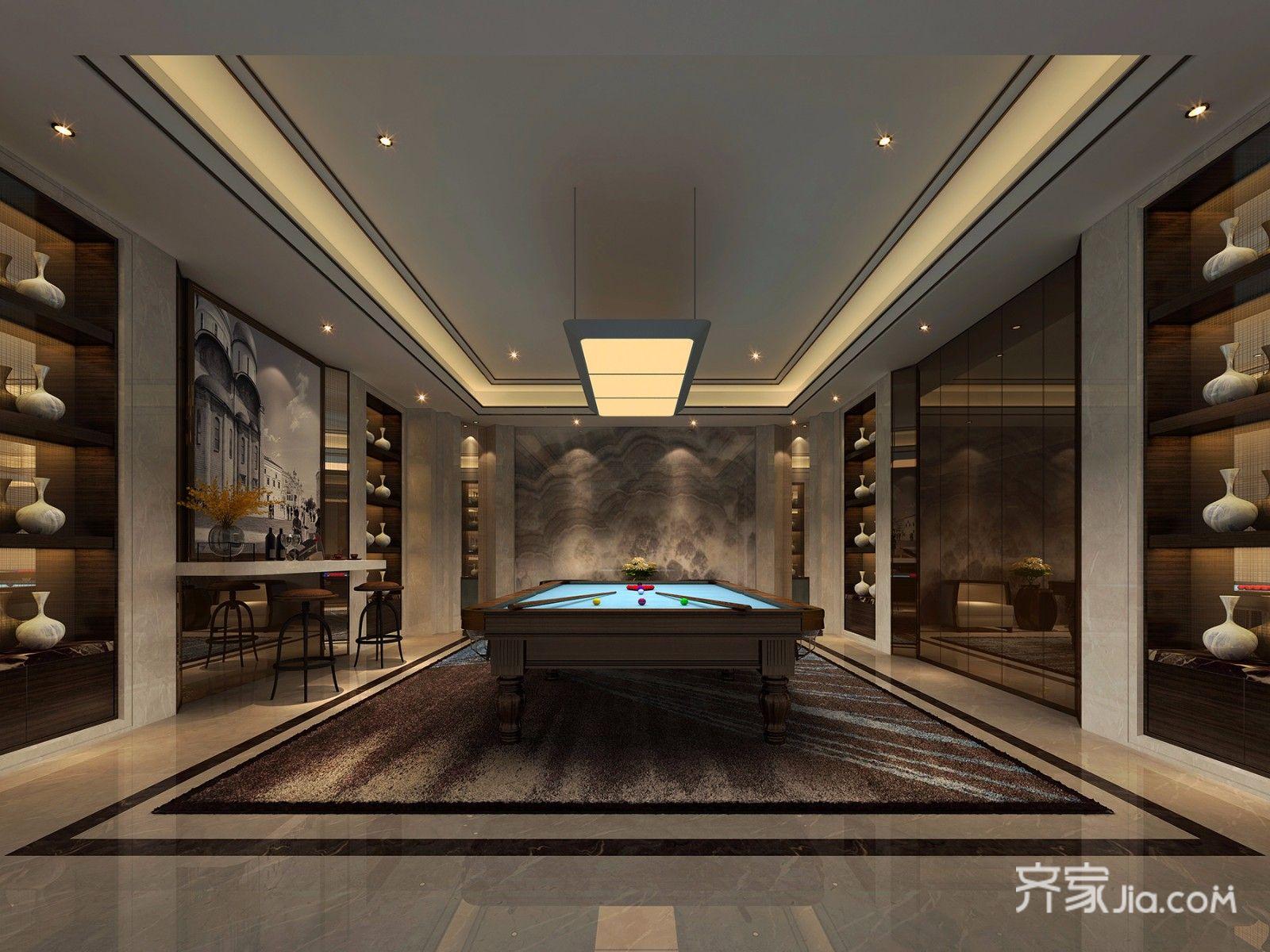 中式风格别墅桌球室设计效果图