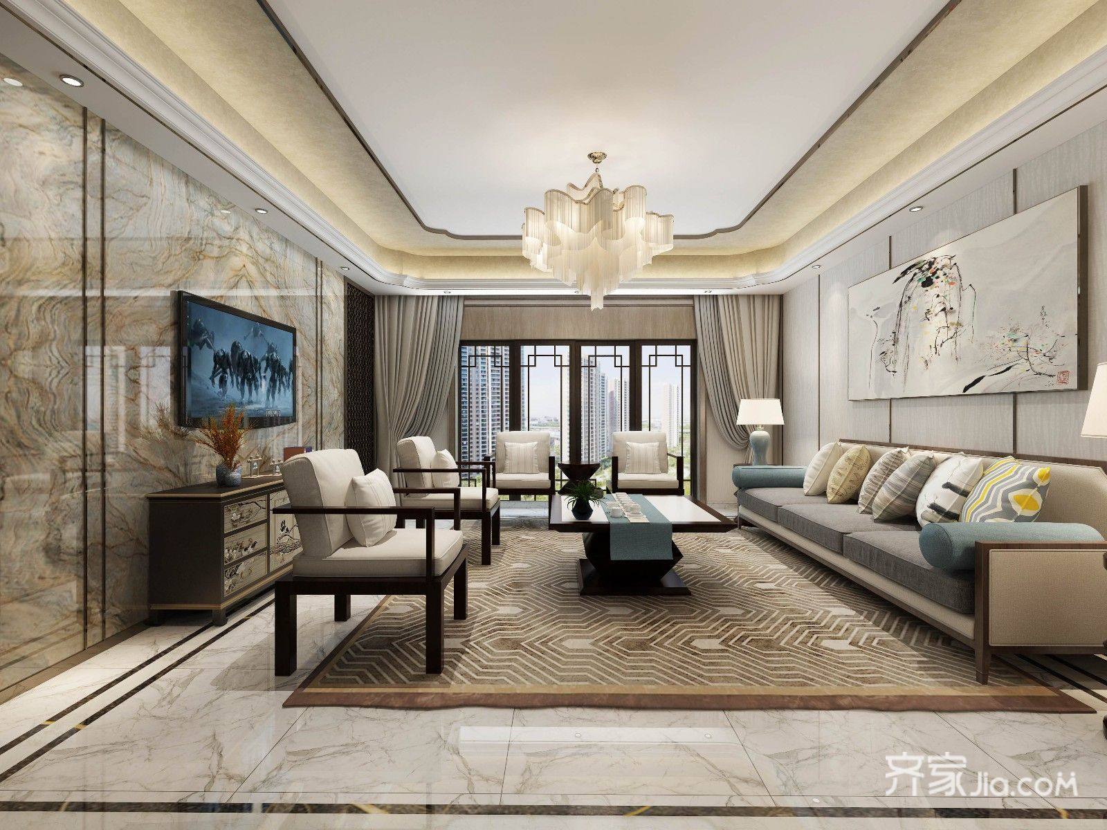 新中式大户型客厅装修设计效果图