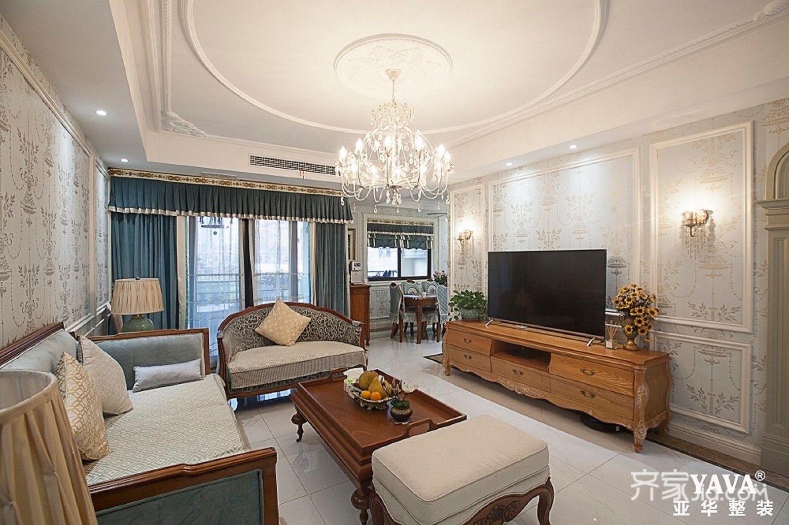 108平欧式三居客厅装修设计效果图