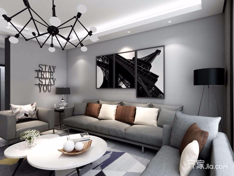 黑白灰现代混搭风格客厅装修效果图