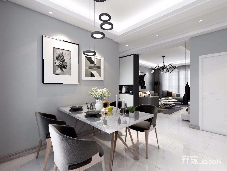 黑白灰现代混搭风格餐厅背景墙装修效果图