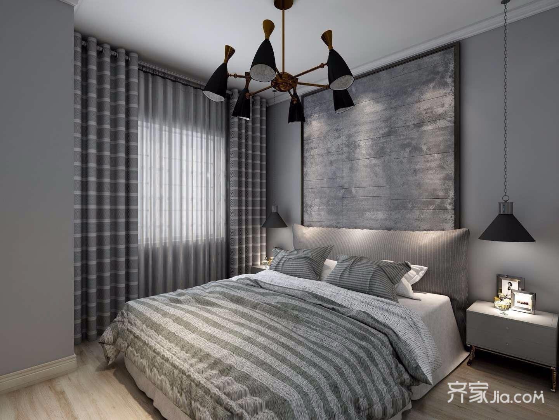 黑白灰现代混搭风格卧室装修效果图