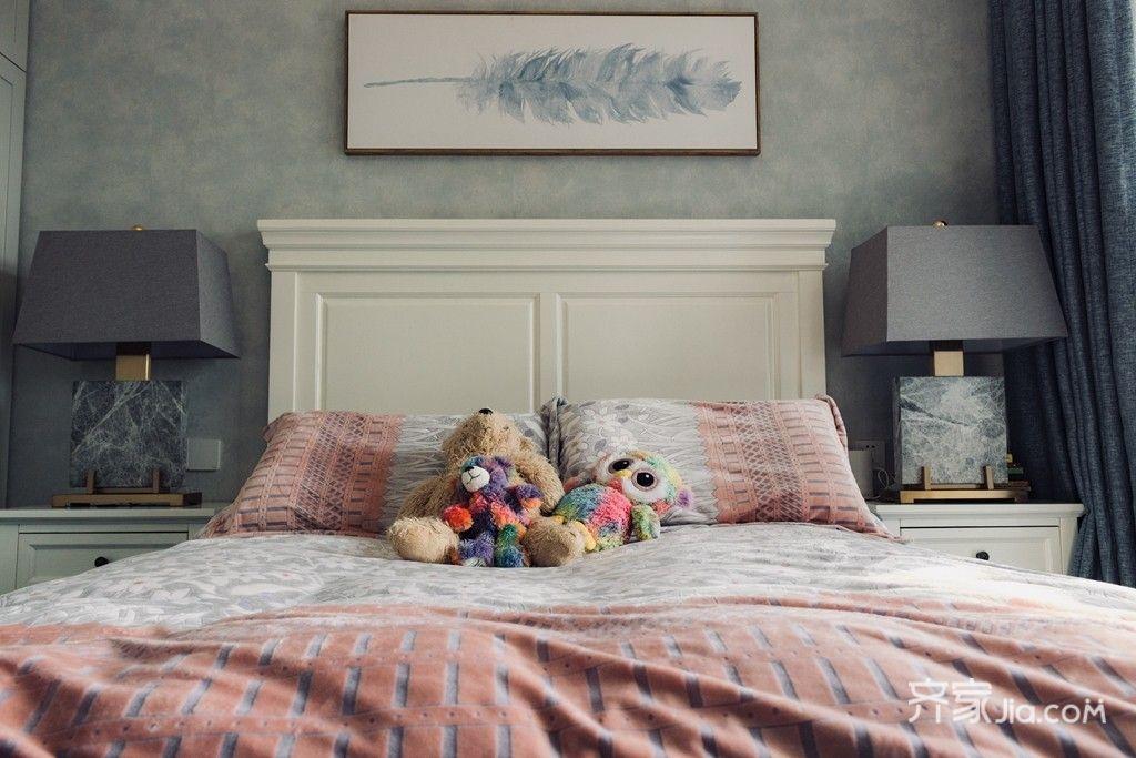 90㎡美式风格二居装修床头背景墙效果图