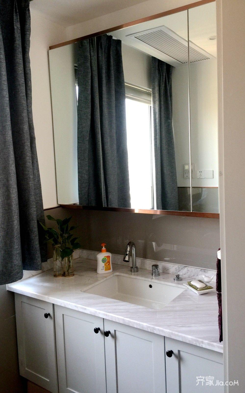 90㎡美式风格二居装修洗手台设计图