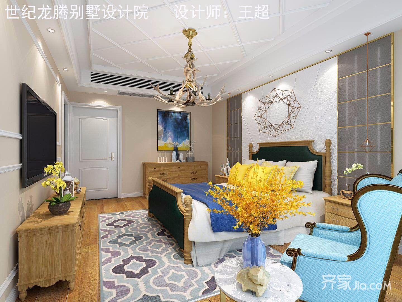 大户型现代美式别墅床头背景墙装修效果图