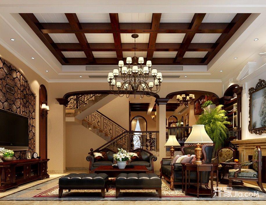 欧式大户型别墅客厅装修效果图